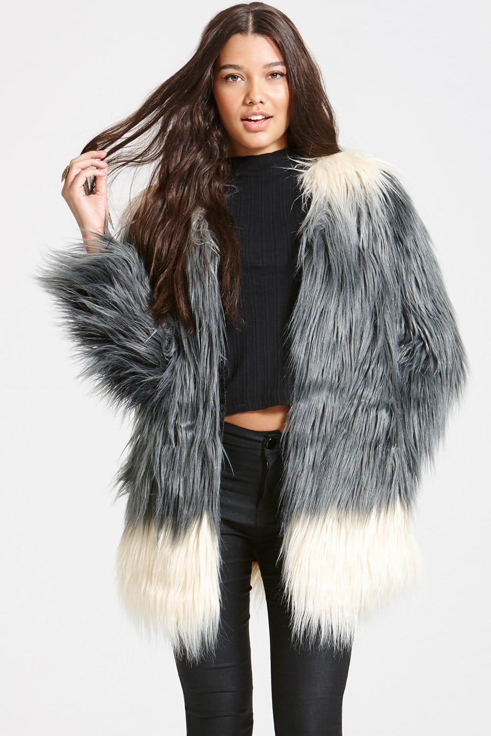 Grey Ombre Faux Fur Jacket - from Little Mistress UK