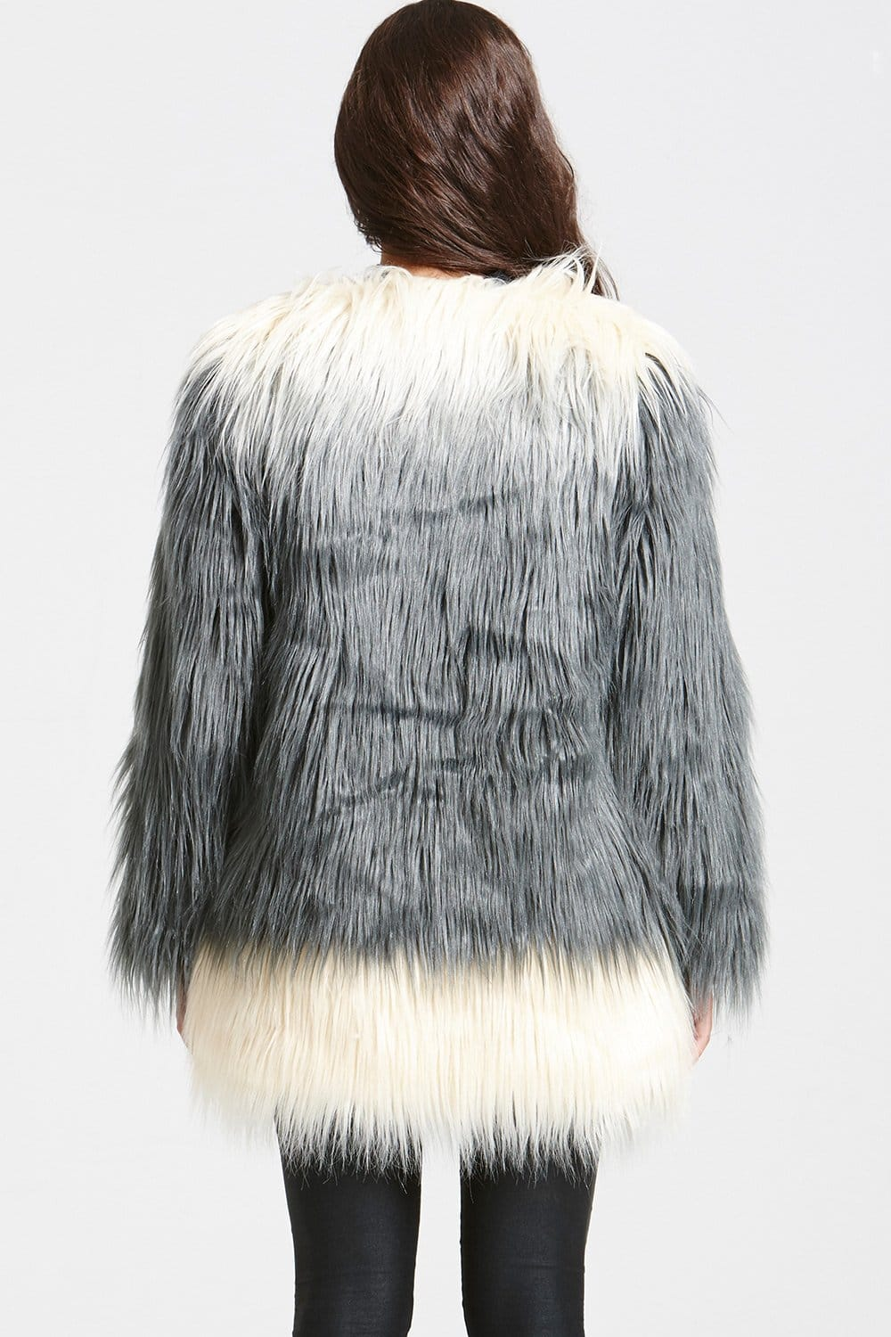 Available In Grey,Black And Ivory Jacket Vest Faux Fur Drape Front Vest.