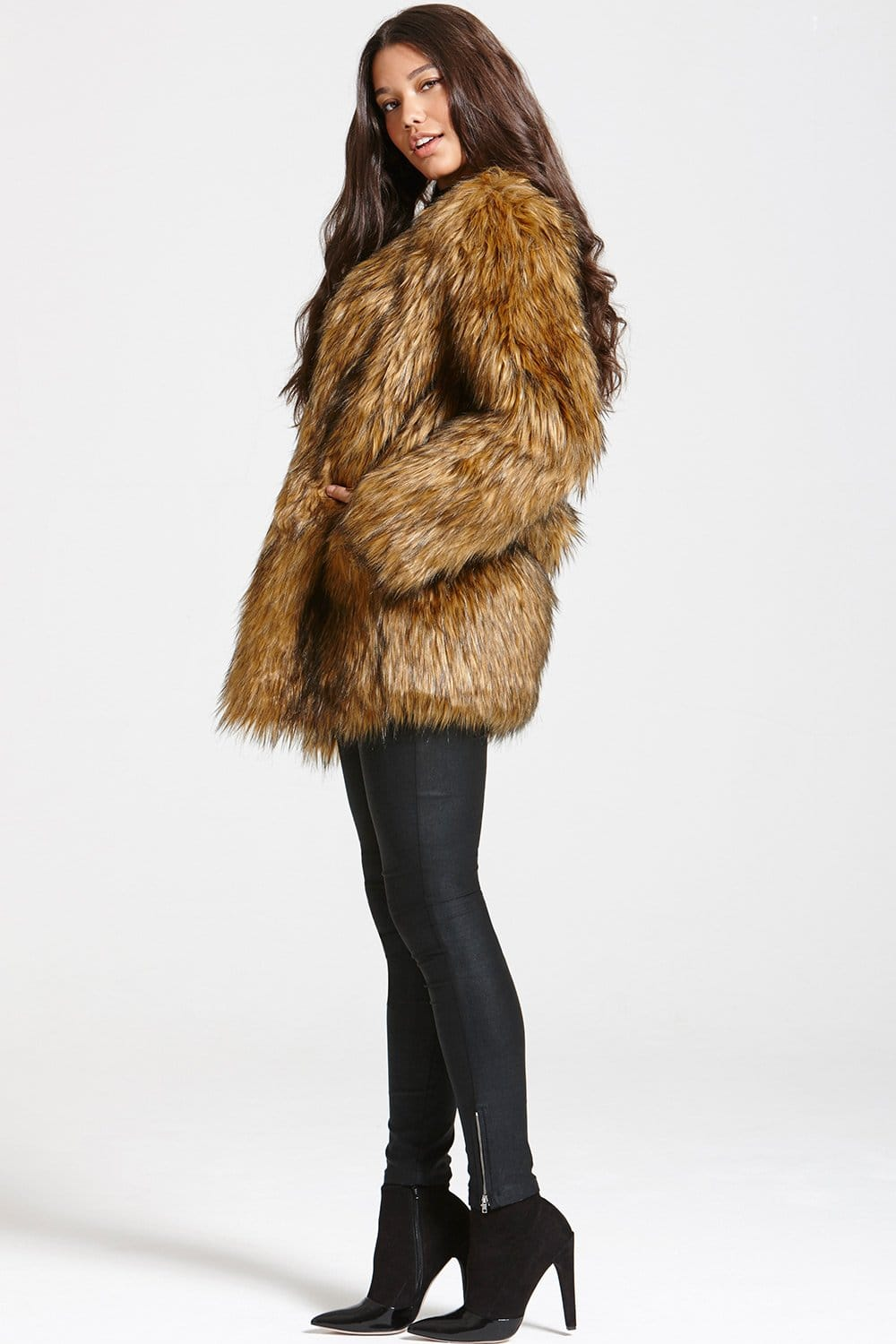 Little Mistress Brown Faux Fur Jacket - Little Mistress from ...