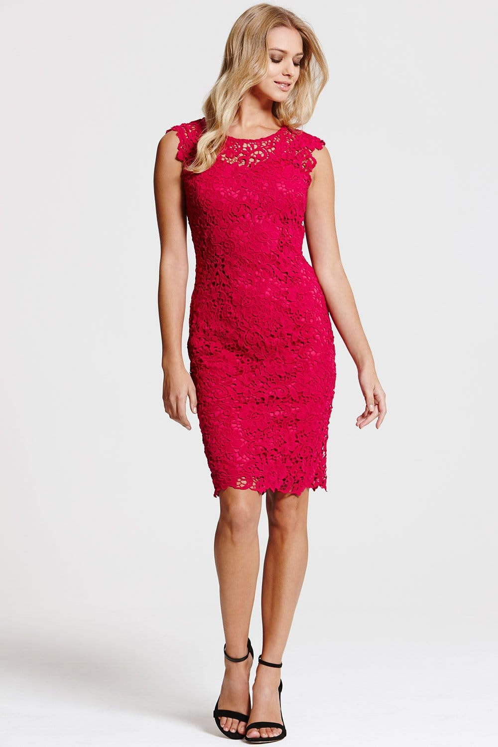Outlet Paper Dolls Berry All Over Crochet Lace Dress