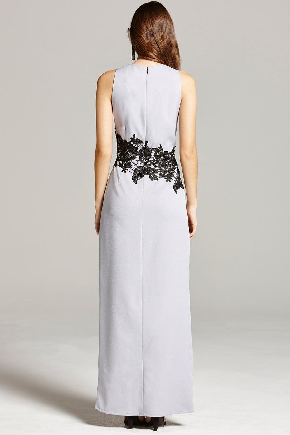 Grey And Black Lace Overlay Maxi Dress From Little