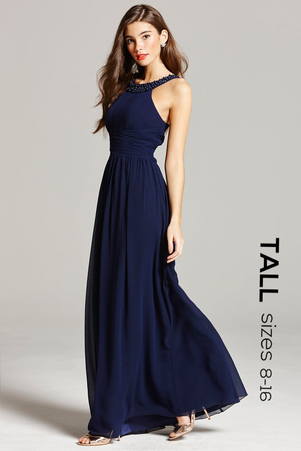 Navy Embellished Empire Maxi dress - from Little Mistress UK