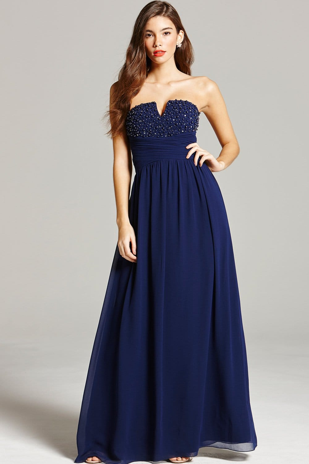 Navy Embellished Bandeau Maxi Dress From Little Mistress Uk