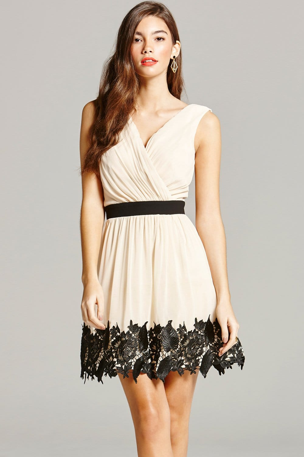 cream and black lace border mini dress from little