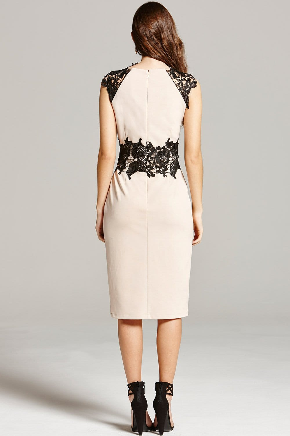 Nude and Black Lace Midi Dress - from Little Mistress UK