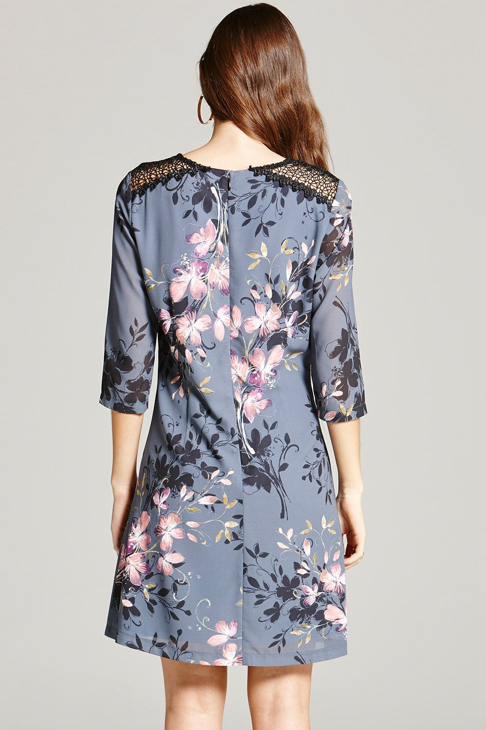 Grey Floral Print And Lace Tunic Dress From Little