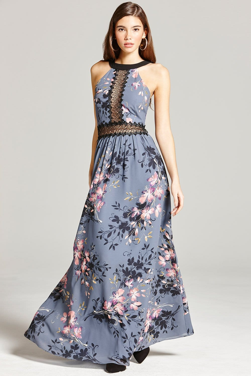 Floral Print and Lace Maxi Dress - from Little Mistress UK