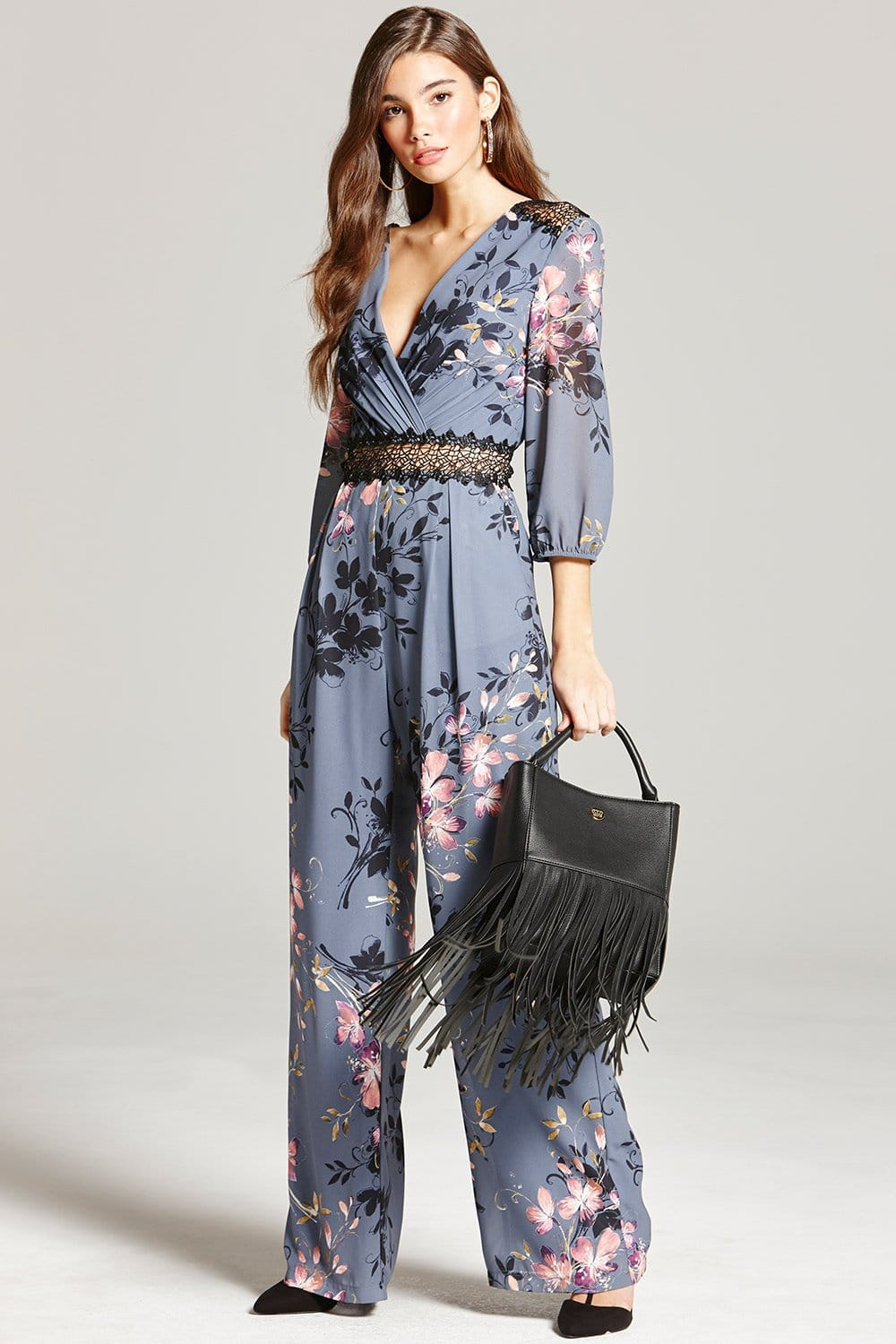 Floral Print And Lace Jumpsuit From Little Mistress Uk