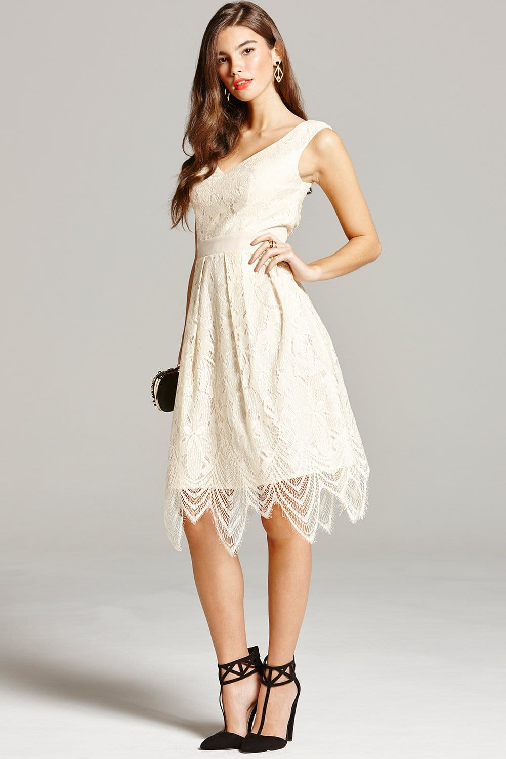Cream Lace Prom Dress - from Little Mistress UK