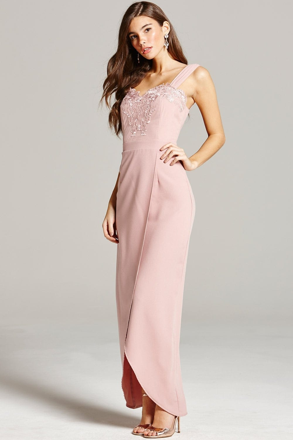 Dusty Pink Embroidery And Wrap Front Maxi Dress From
