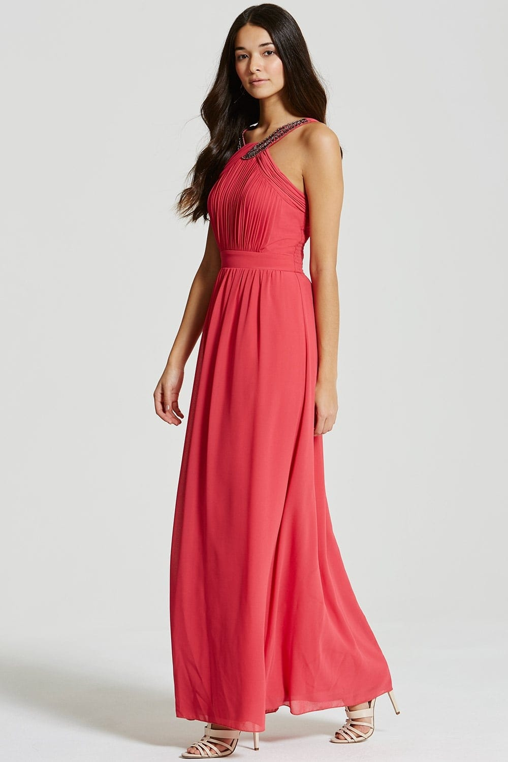 Little Mistress Pink Embellished Chiffon Maxi Dress - Little ...