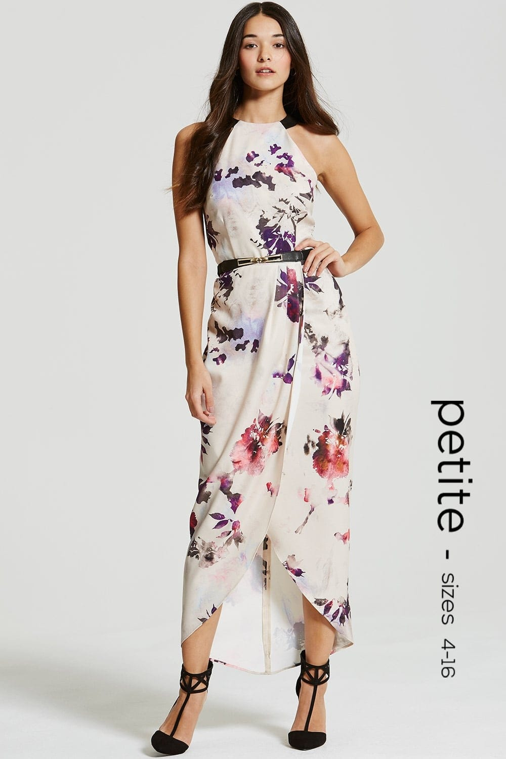 petite petal print halter maxi dress  petite from little