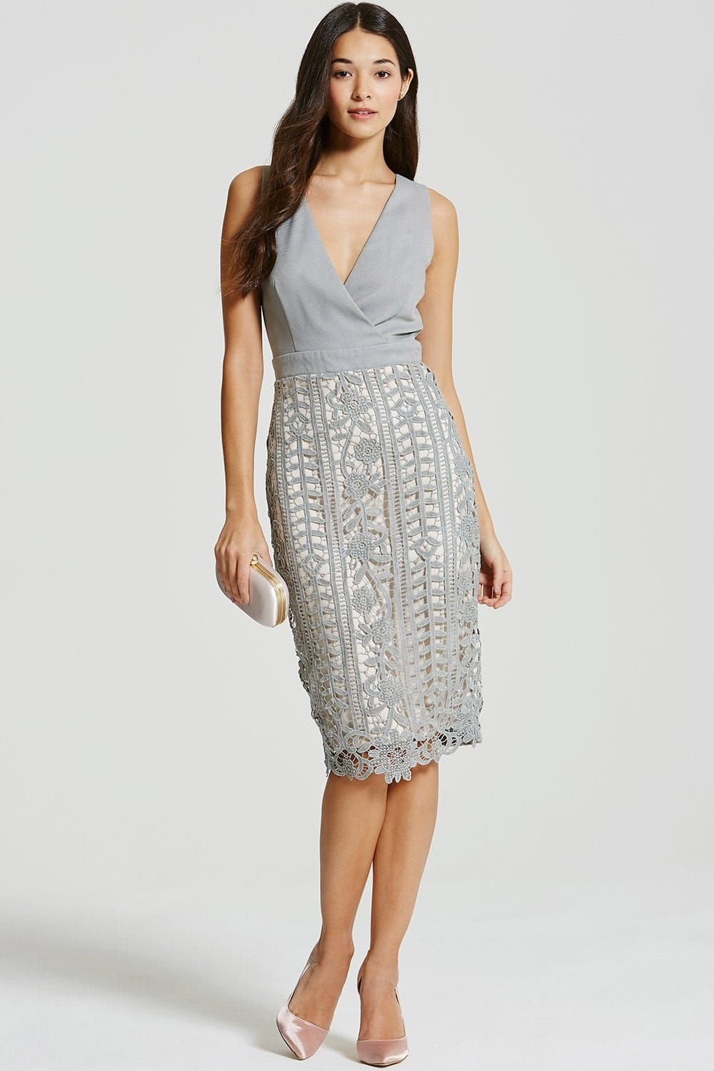 Grey Crochet Lace Wrap Front Midi Bodycon Dress From