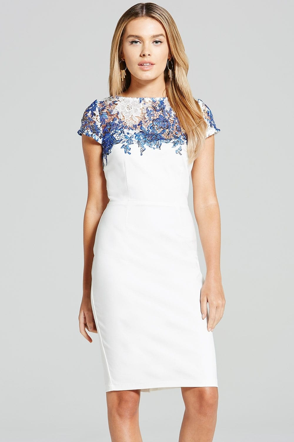 Outlet Paper Dolls Blue and White Sheer Crochet Lace Dress ...