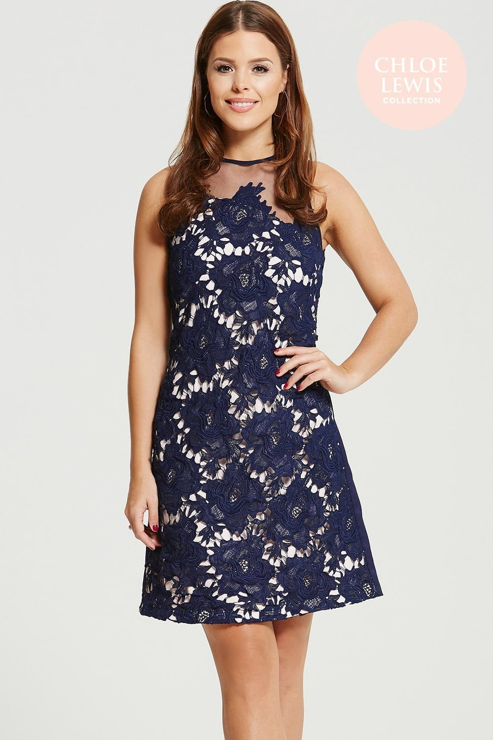 Chloe Lewis Collection Navy Crochet Sheer Shift Dress