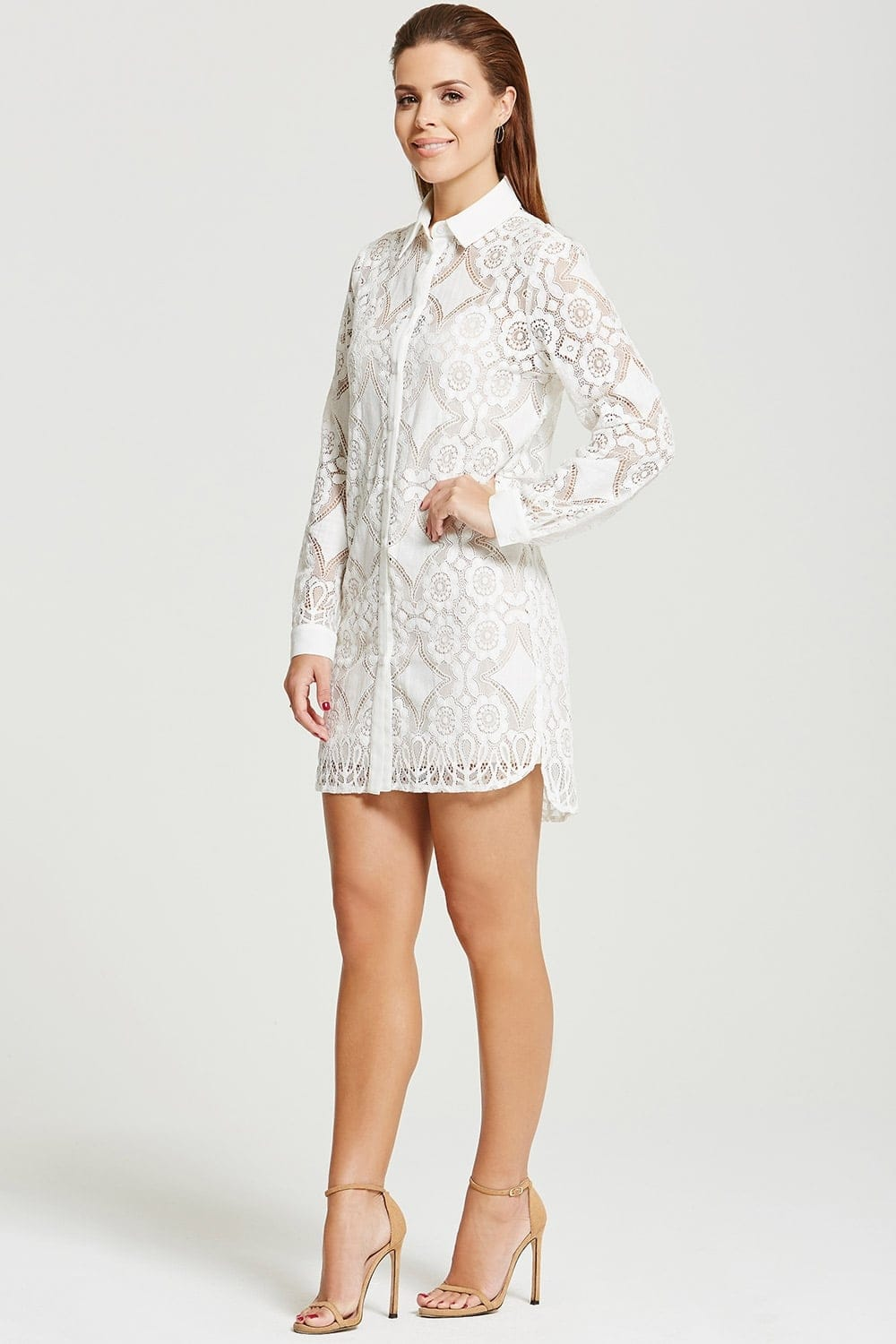 Chloe lewis collection white lace shirt dress chloe for White dress workout shirt