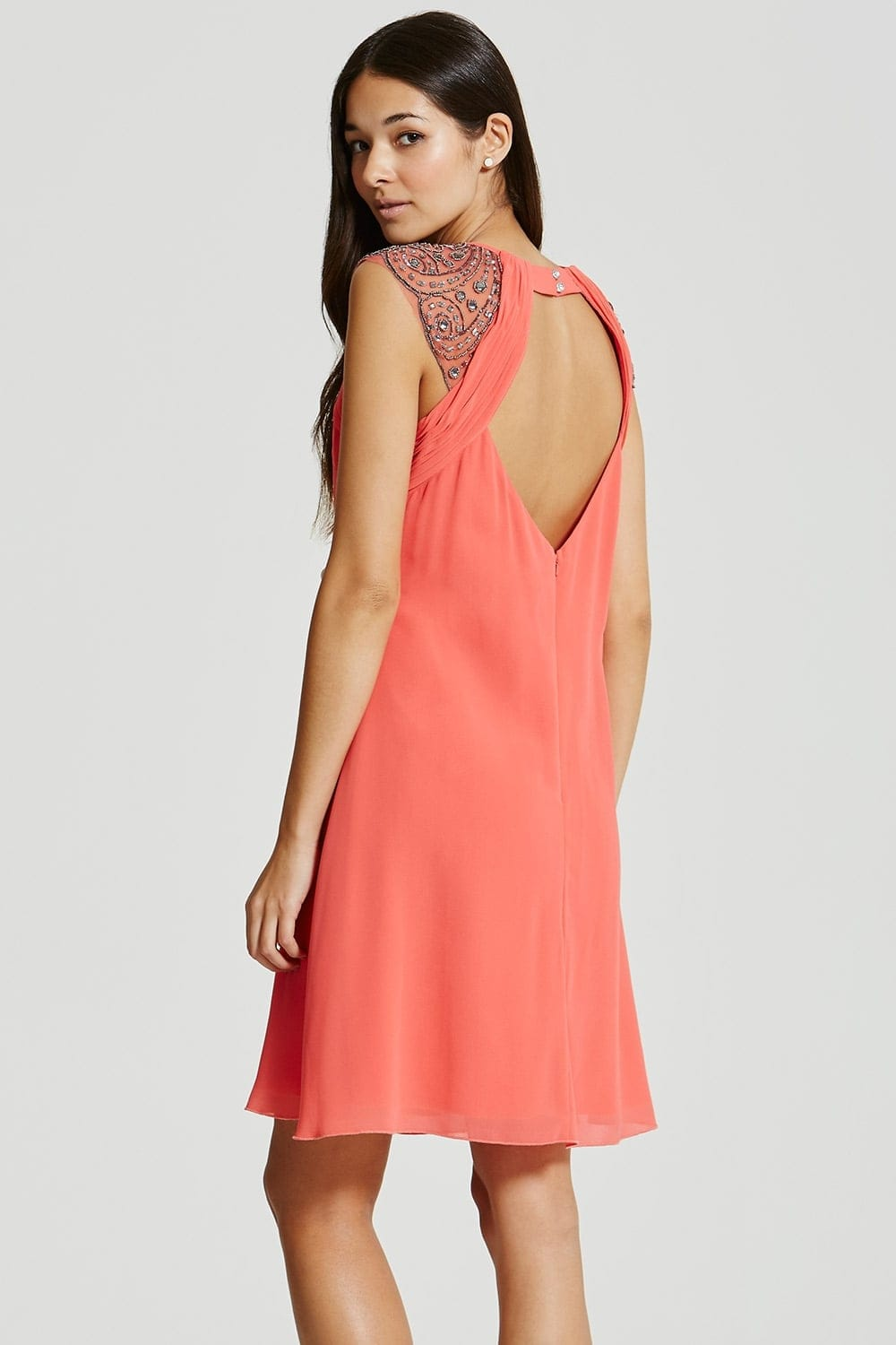 Little Mistress Coral Embellished Open Back Shift Dress - Little ...