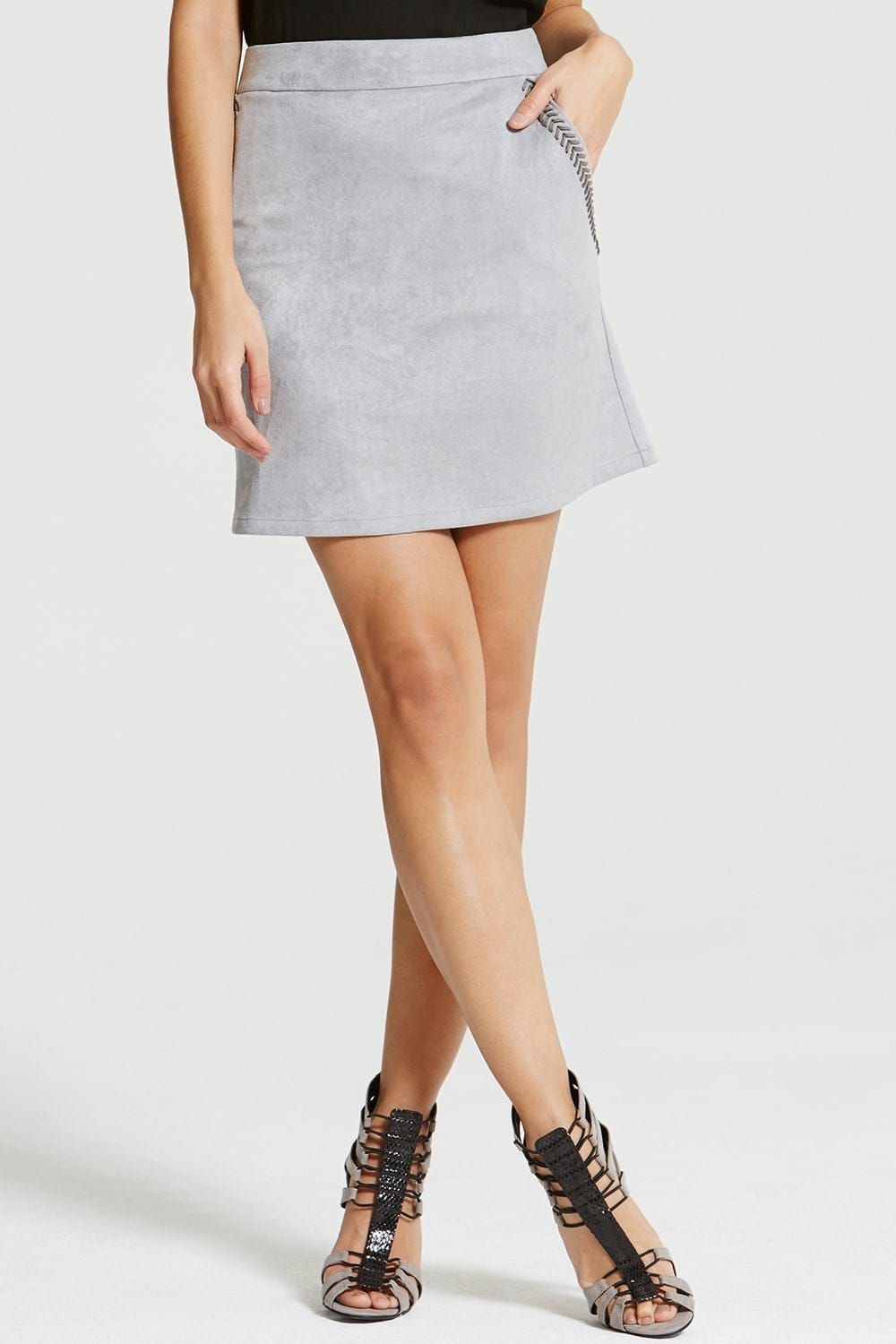 Outlet Girls On Film Light Grey Suede Skirt - Outlet Girls On Film ...