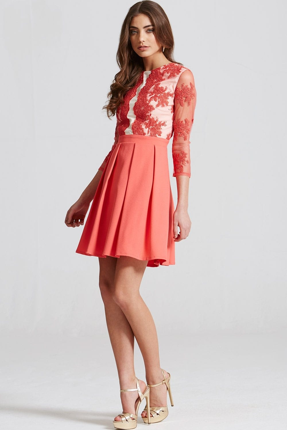 Coral Lace Fit And Flare Mini Dress From Little Mistress Uk