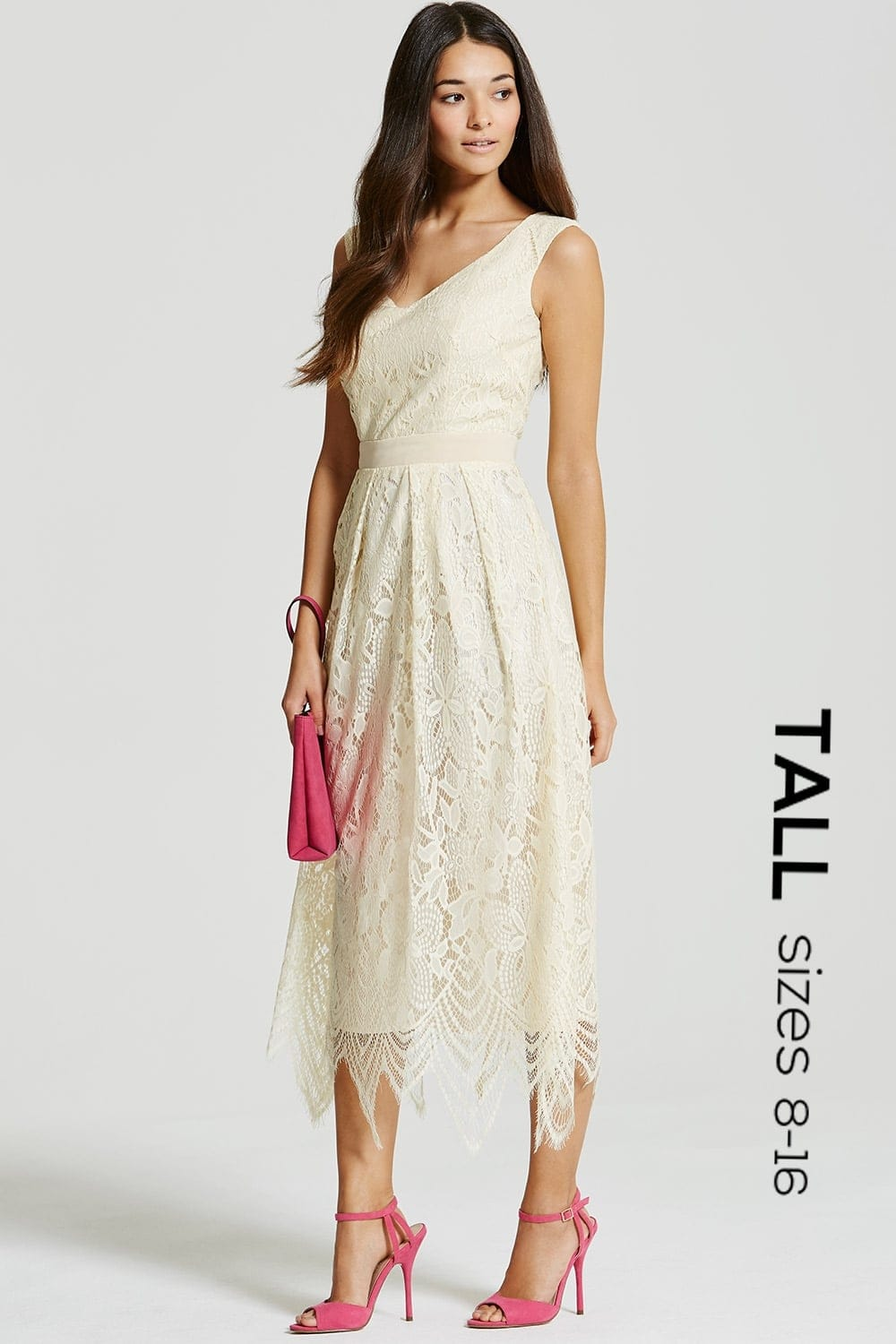 Cream Embroidered Midi Dress - from Little Mistress UK