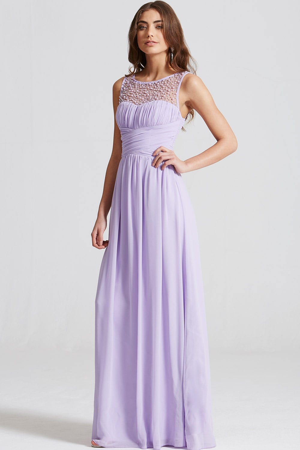Little Mistress Lilac Embellished Neck Maxi Dress - Little ...
