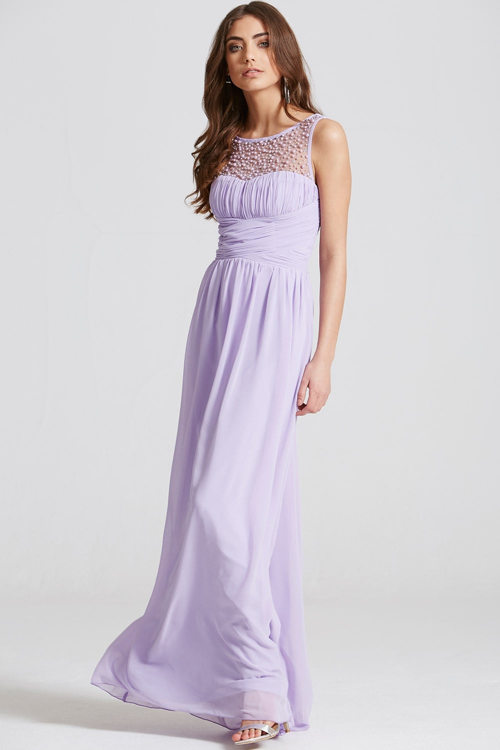 little mistress lilac embellished neck maxi dress little