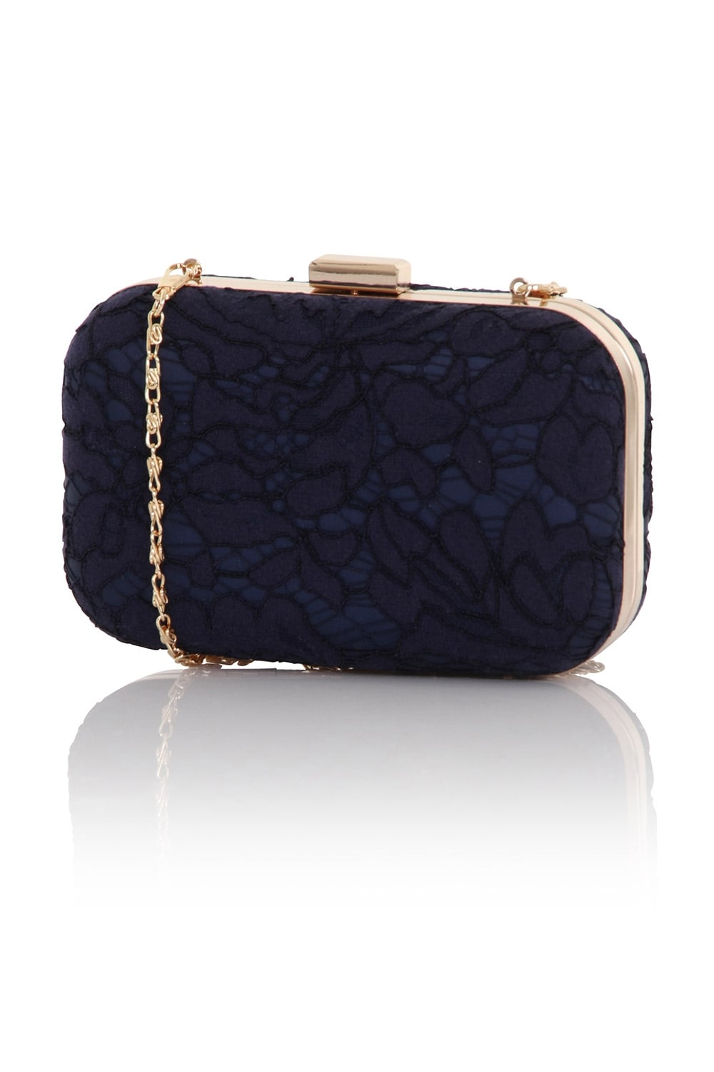 Little Mistress Handbags A Navy Box Clutch Bag In Lace With Detachable Strap