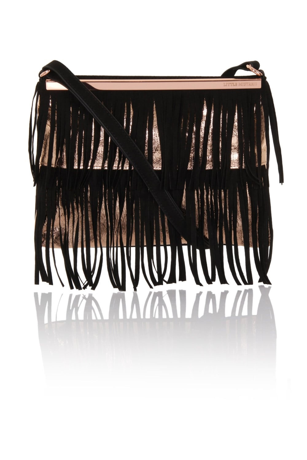 Little Mistress Handbags Fringe Metallic Crossbody Bag