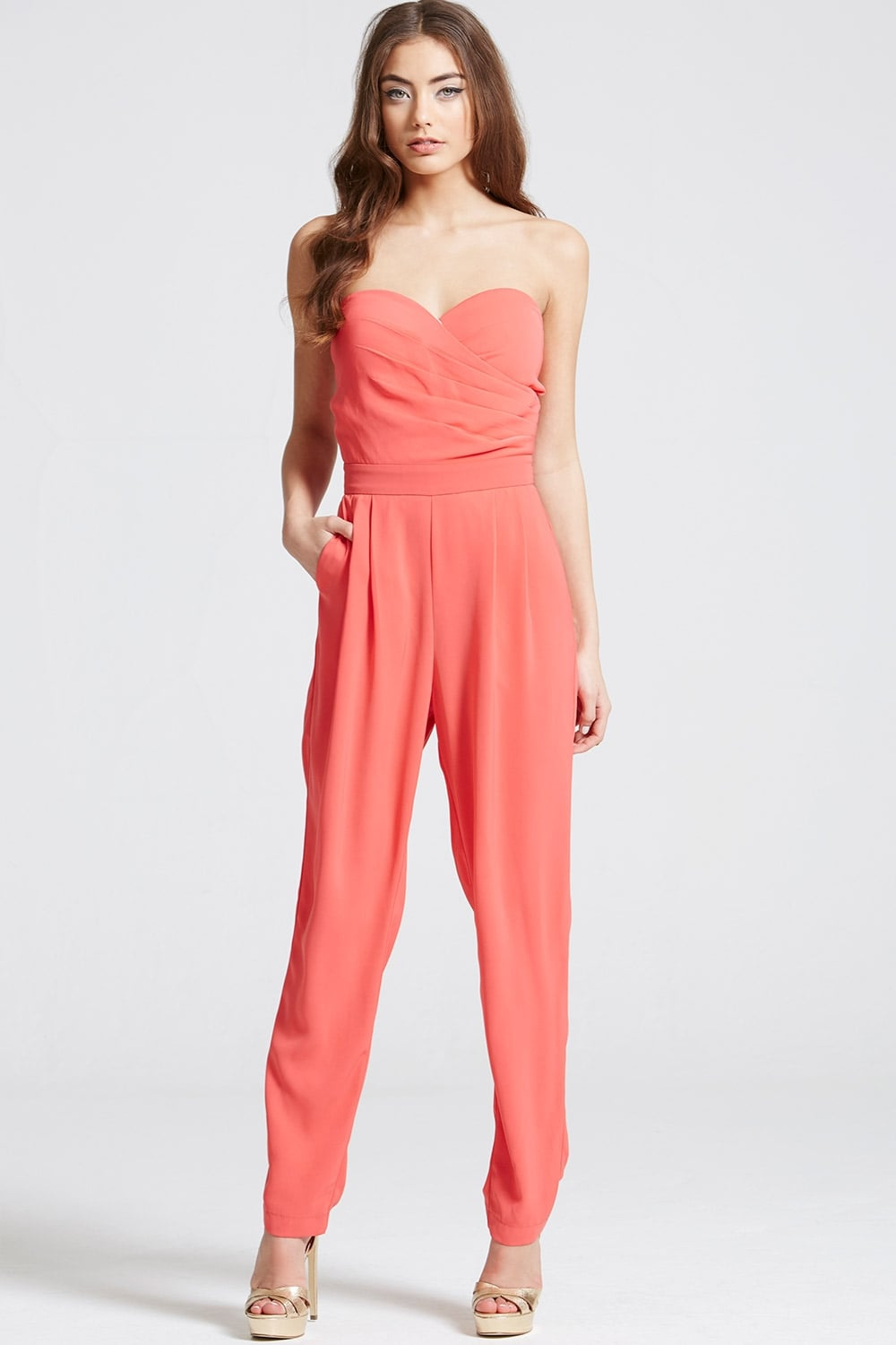 06a8d5a65f6a Outlet Girls On Film Coral Bandeau Jumpsuit - Outlet Girls On Film ...