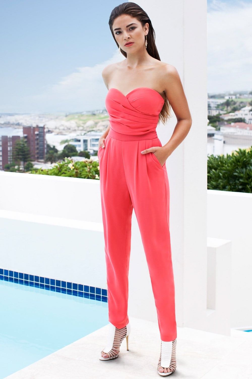 c3629acdbcb2 Outlet Girls On Film Coral Bandeau Jumpsuit - Outlet Girls On Film from Little  Mistress UK