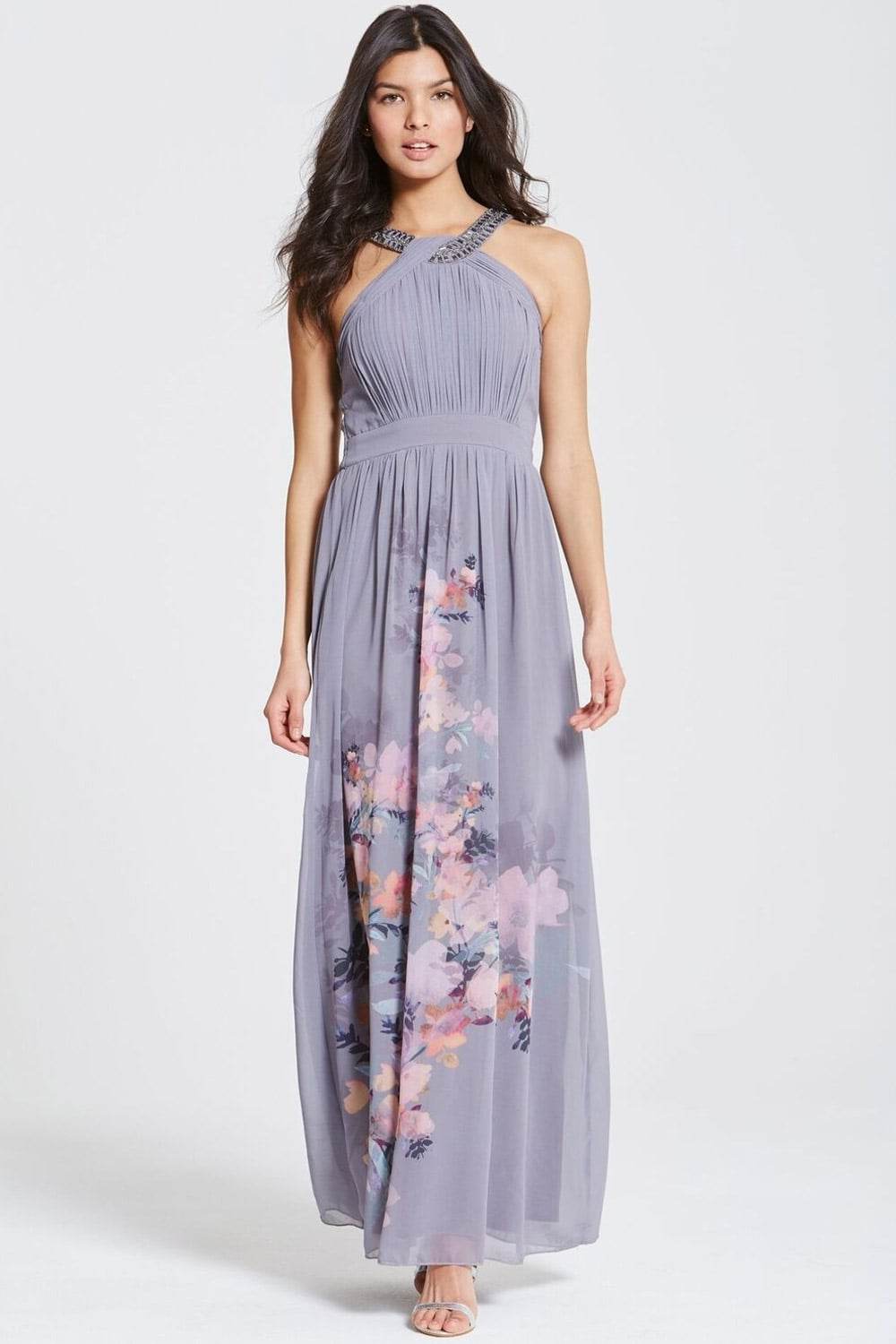 Grey Floral Print Chiffon Maxi Dress - from Little Mistress UK
