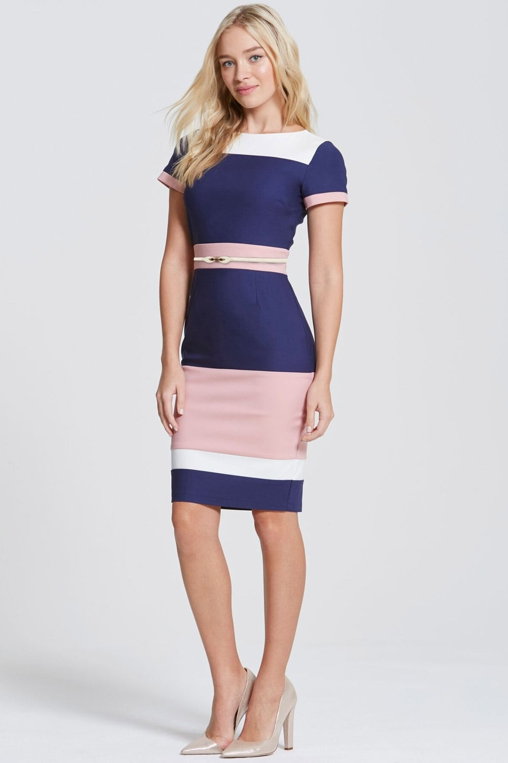 Paper Dolls Blush Navy And Cream Panel Dress Paper Dolls From