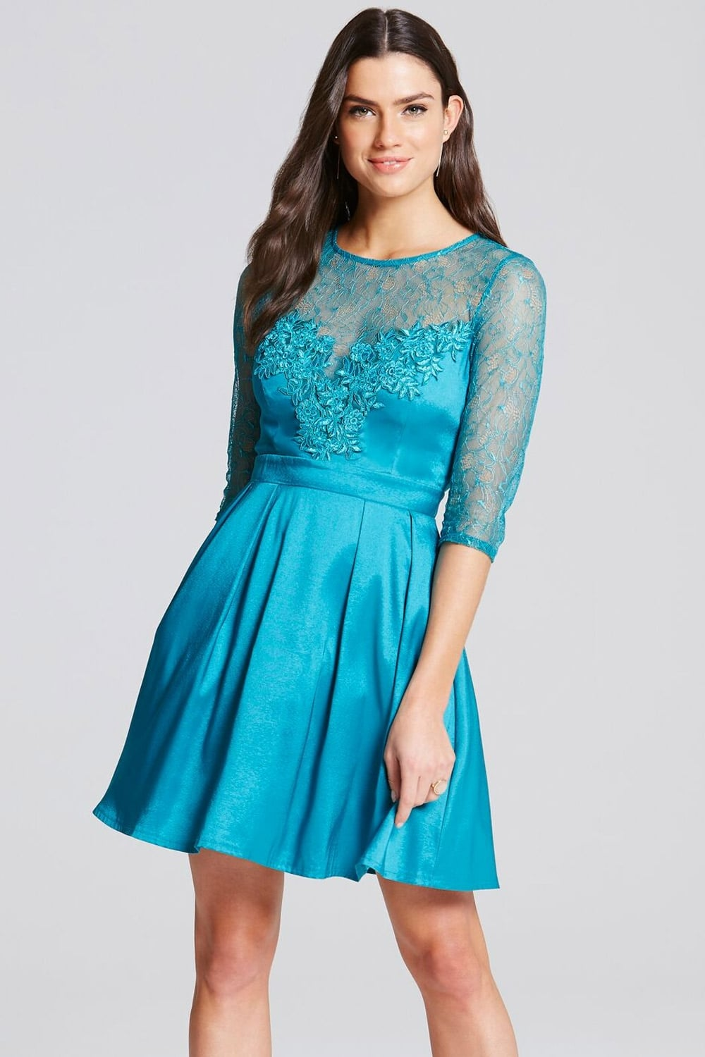 Turquoise Lace and Crochet Mini Dress - from Little Mistress UK