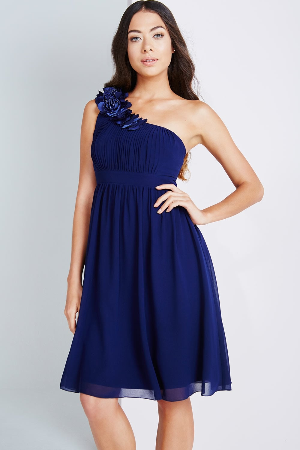 c7245fe832c Little Mistress Navy One Shoulder Corsage Prom Dress - Little ...