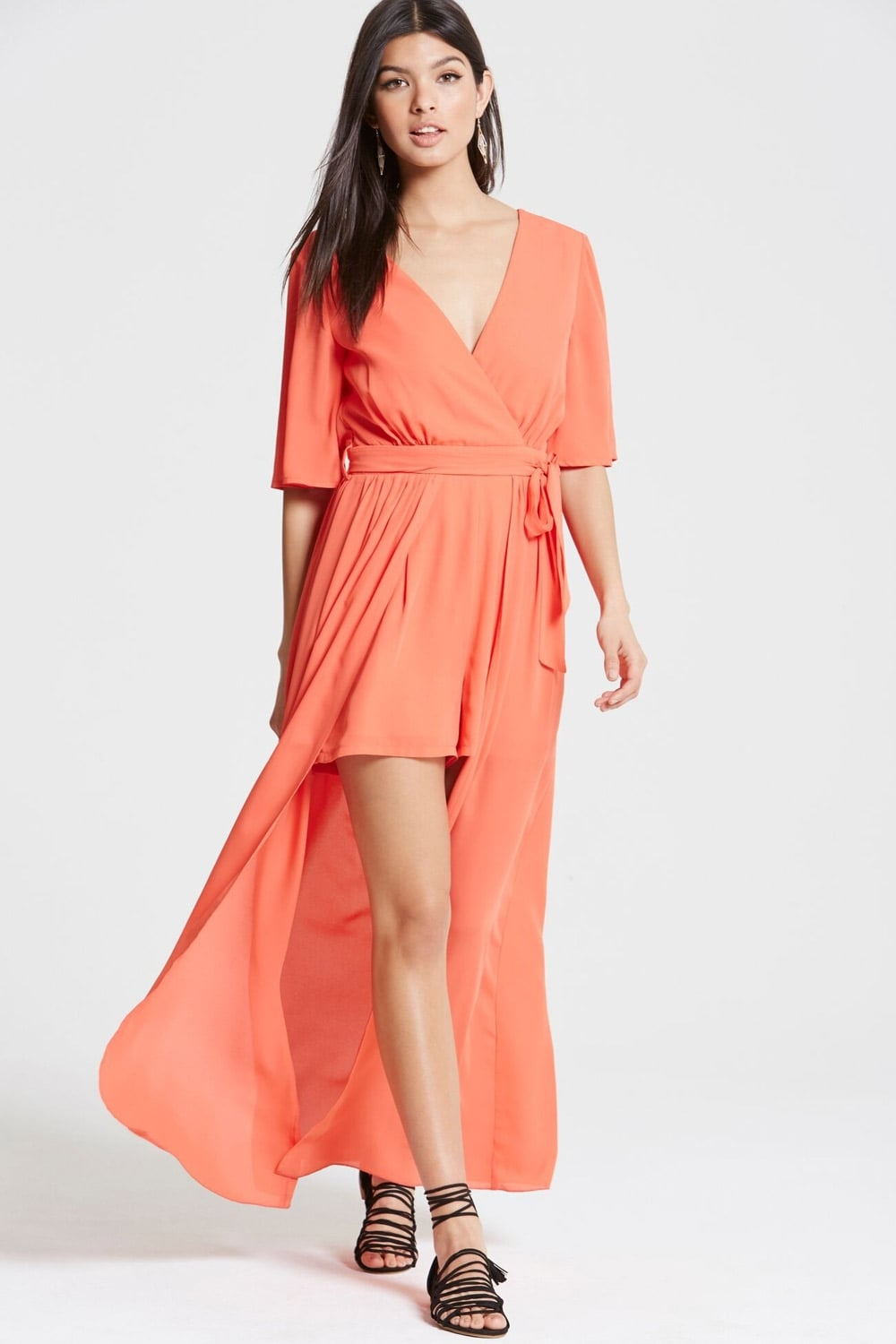 Outlet Girls On Film Coral Maxi Overlay Playsuit - Outlet Girls On Film  from Little Mistress UK