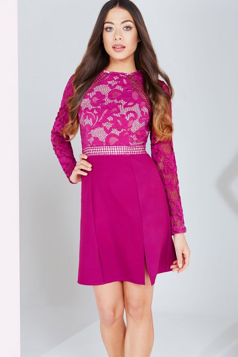 Little Mistress Raspberry Lace Panel Shift Dress - Little Mistress ...