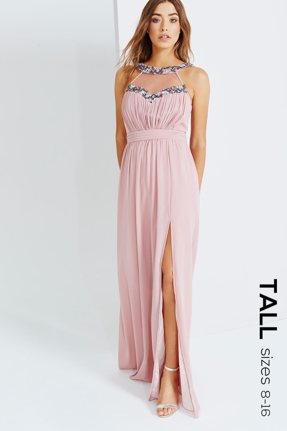 Tall Rose Embellished Trim Maxi Dress - Tall from Little Mistress UK