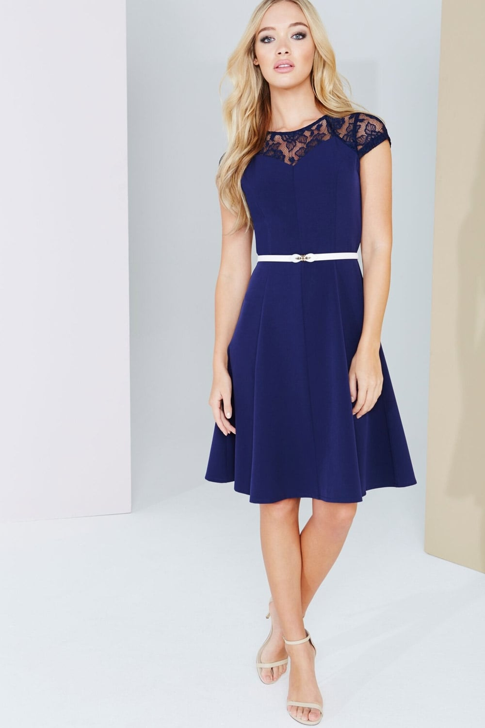 a9fbc2accae9e Outlet Paper Dolls Navy Lace Detail Fluted Swing Dress