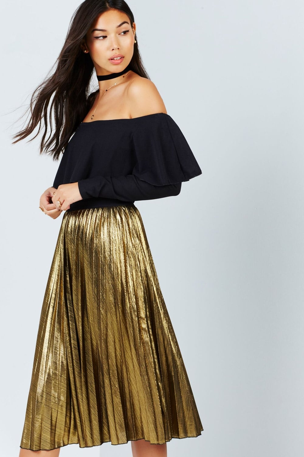 Girls on Film Gold Midi Pleat Skirt - Girls On Film from Little ...