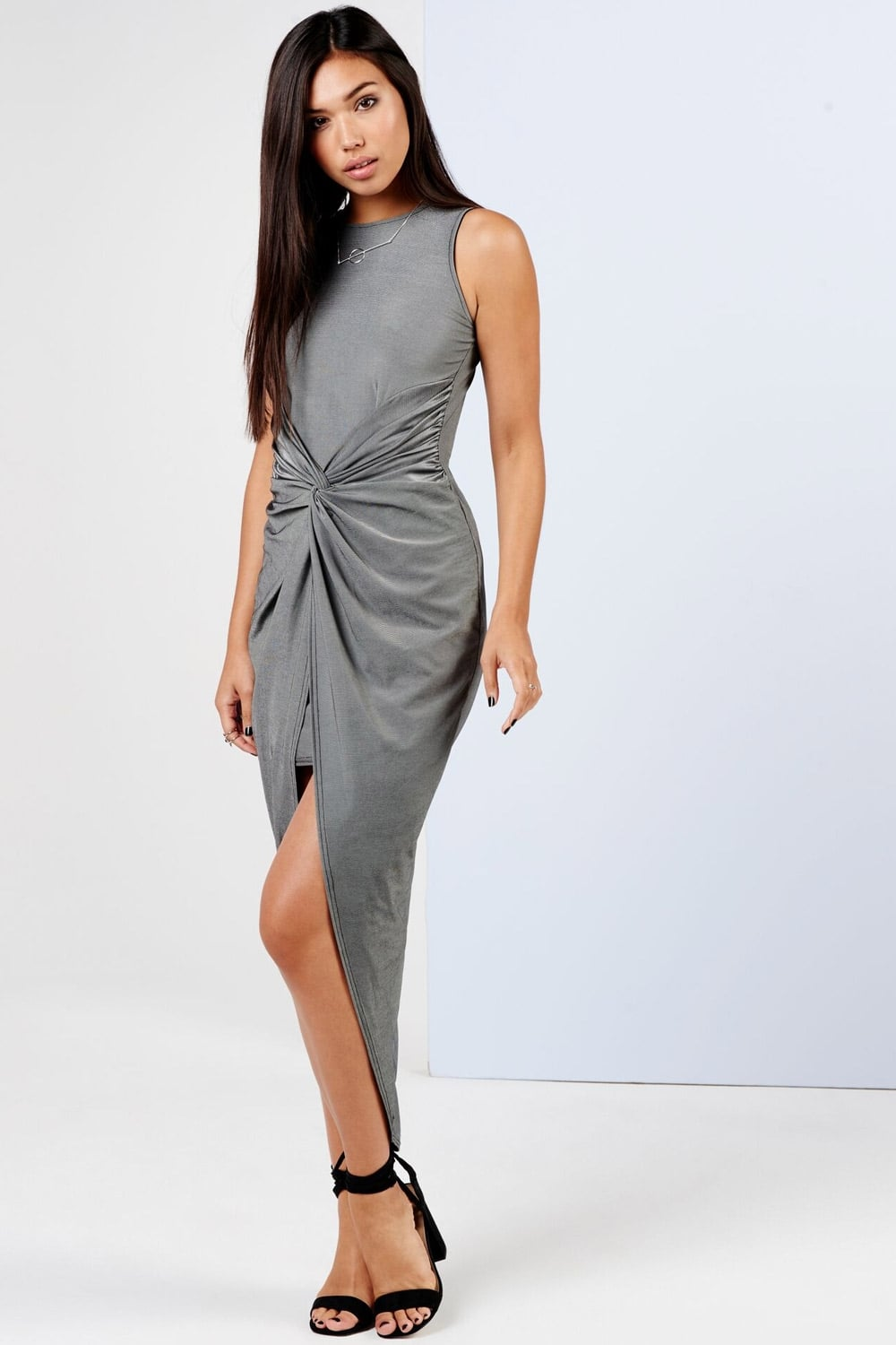 9018b6f288 Outlet Girls On Film Grey Knot Front Bodycon Dress