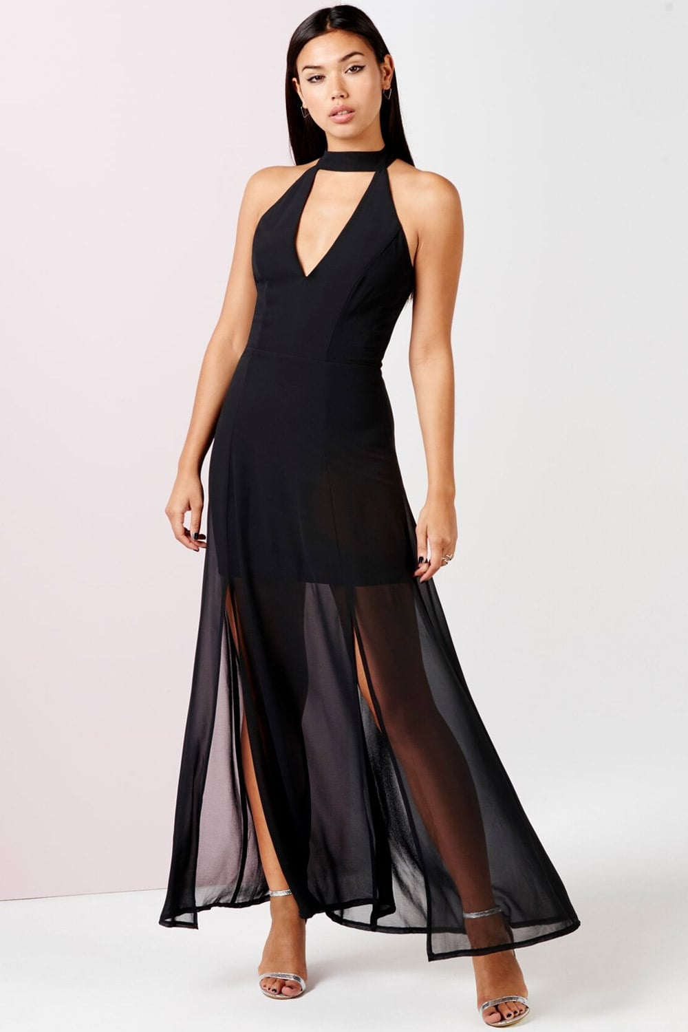 Outlet Girls On Film Black Keyhole Maxi Dress With Slits - Outlet ...