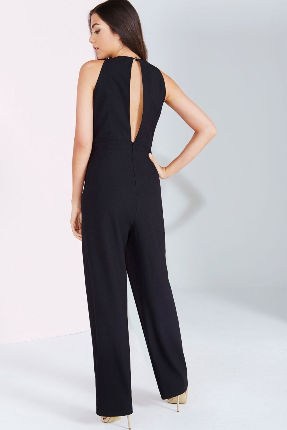 Little Mistress Black Embroidered Sequin Jumpsuit Little