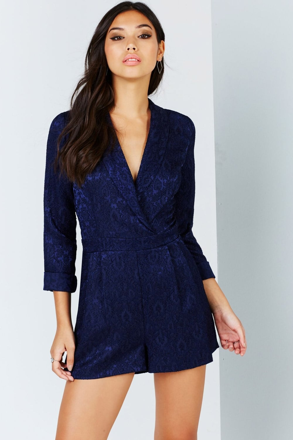 6b8e344db5 Outlet Girls On Film Navy Jacquard Playsuit - Outlet Girls On Film from Little  Mistress UK