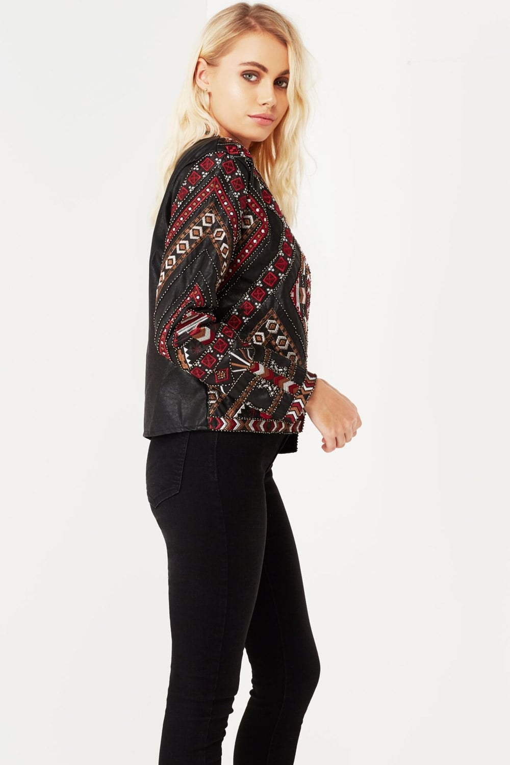 Outlet girls on film ethnic embroidered jacket with faux