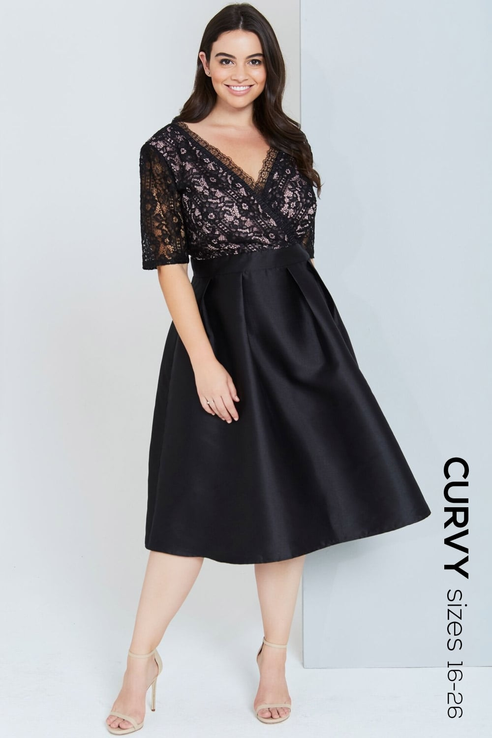 curvy black lace dress with skirt