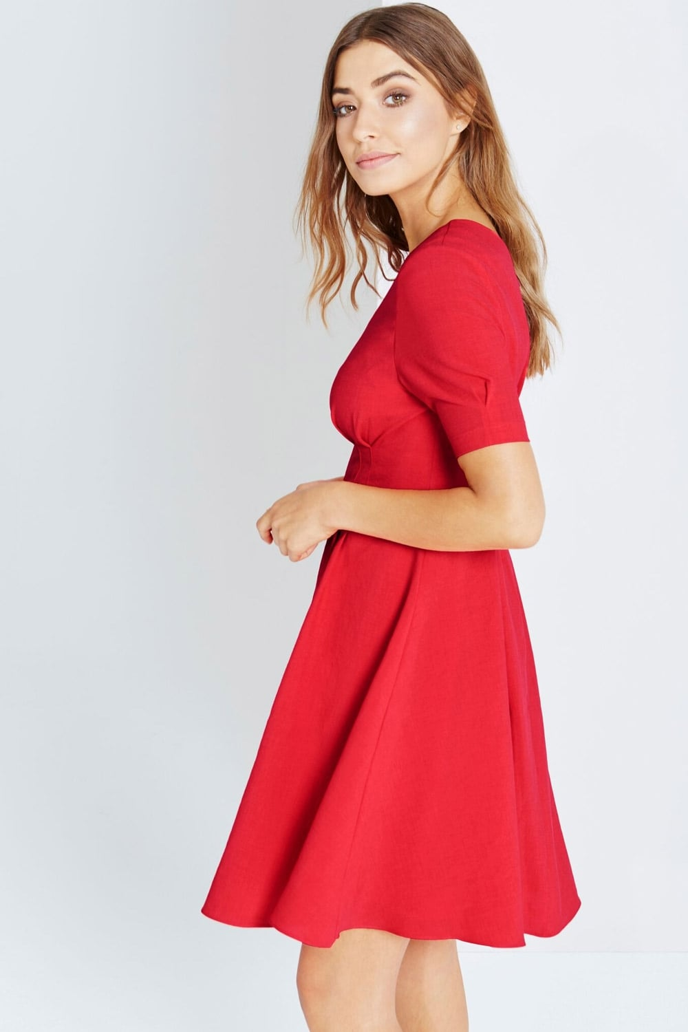 Little Mistress Red Fit And Flare Midi Dress Little