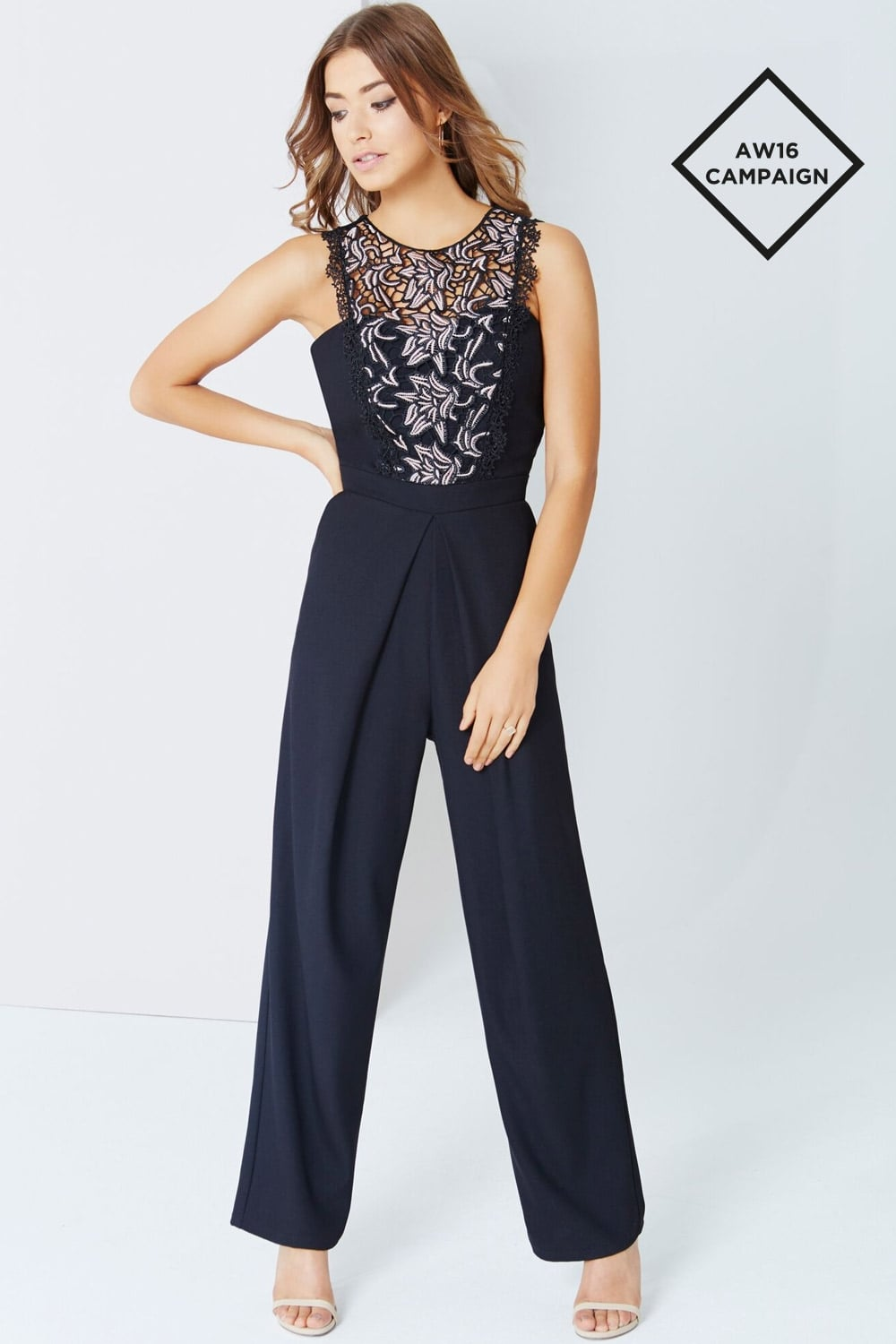 2f46fa02e02 Little Mistress Black Jumpsuit With Lace Panel - Little Mistress ...