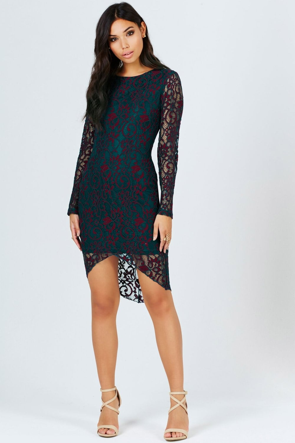Girls On Film Teal And Berry Lace Bodycon Dress Girls On