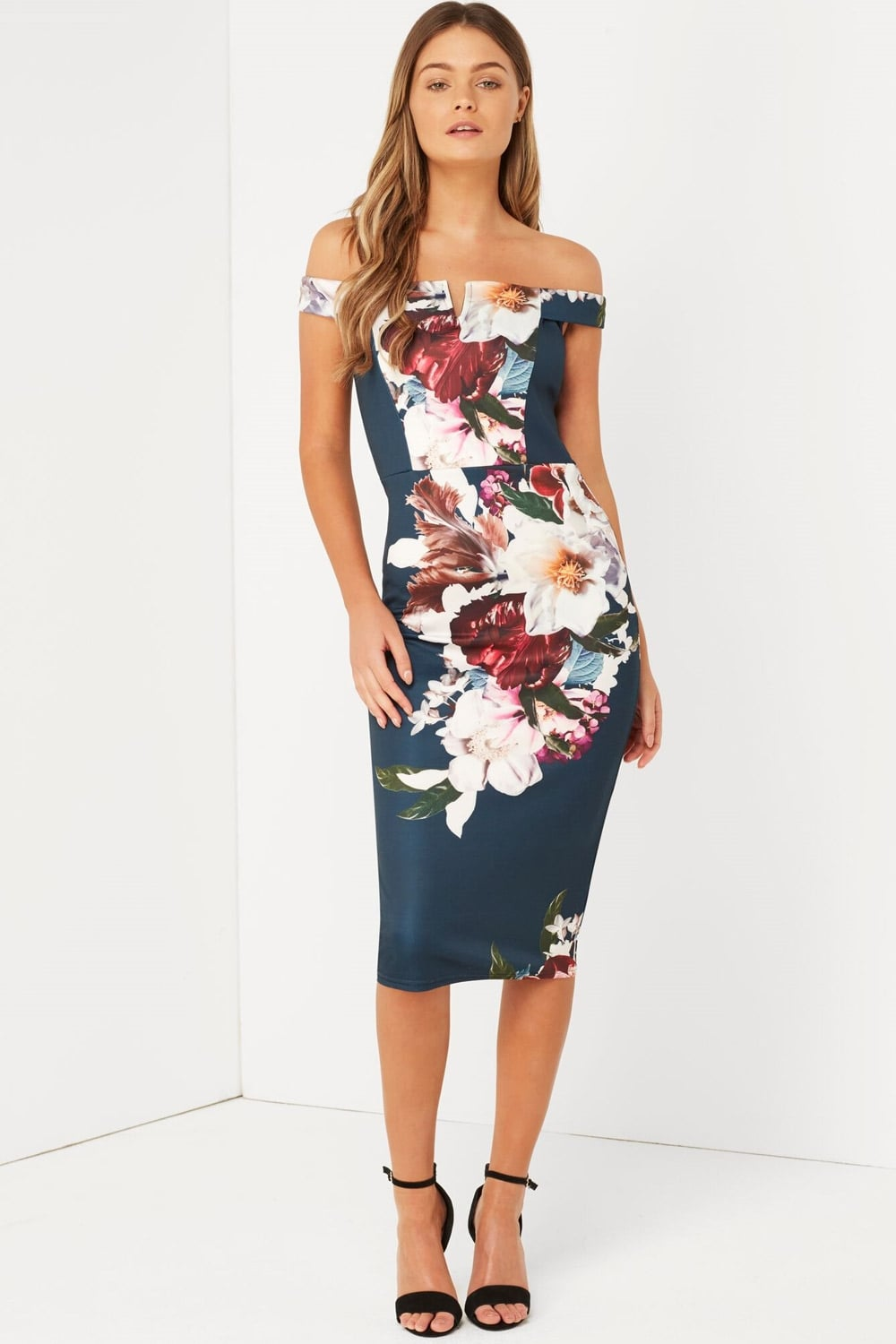 Outlet Girls On Film Print Bardot Bodycon Dress Outlet