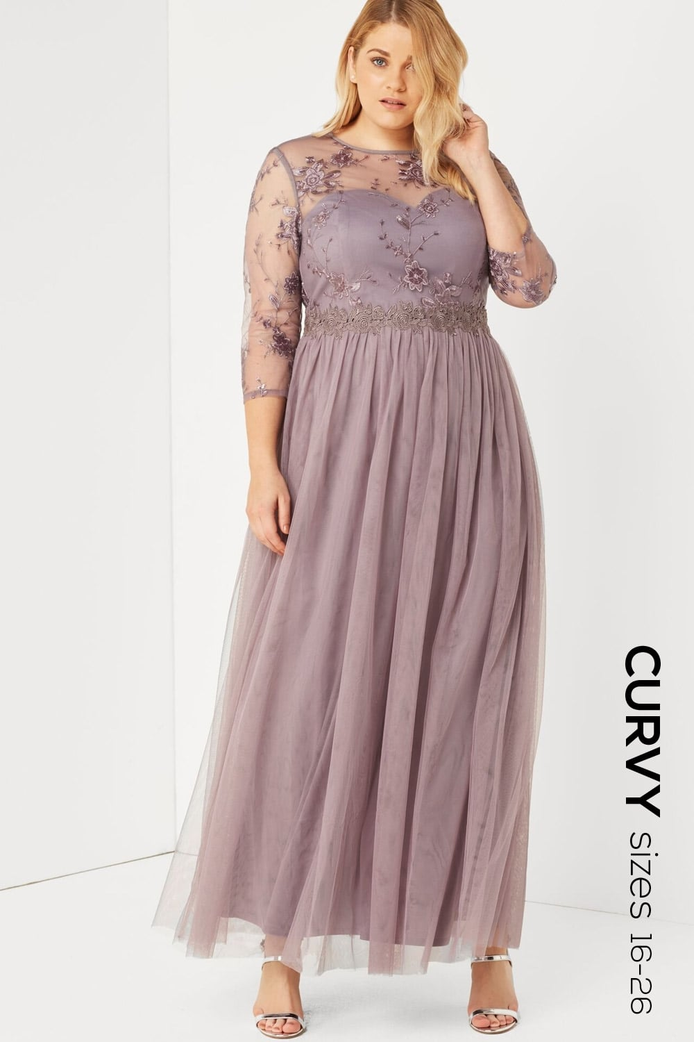 Little Mistress Curvy Grey Lace And Embroidered Maxi Dress